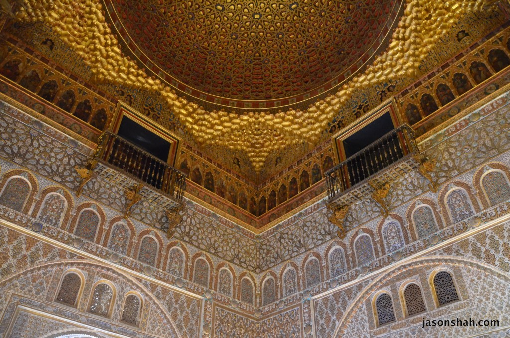 At the Alcazar in Sevilla. Moorish architecture created for Catholic royalty
